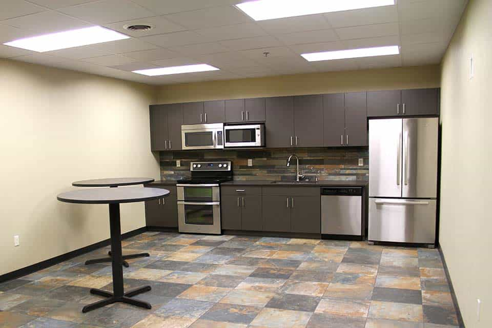 Kitchen and breakroom in the Clean Water building by Fox Structures