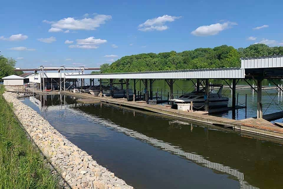 Appleton Yacht Club Roof Rebuild by Fox Structures with boats parked underneath