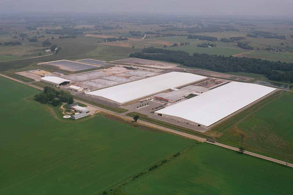 Sky view of Rosendale Dairy. Agricultural construction in Rosendale, WI by Fox Structures, Inc.
