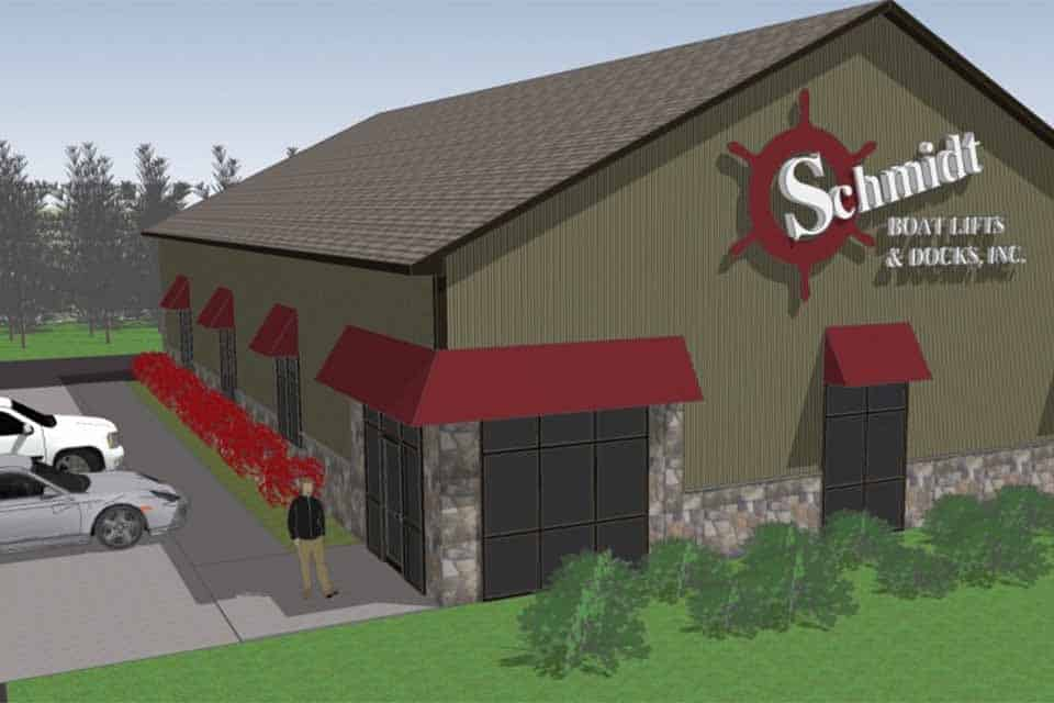 Rendering of the Schmidt Boat Lifts and Docks, Inc. custom built showroom and office space