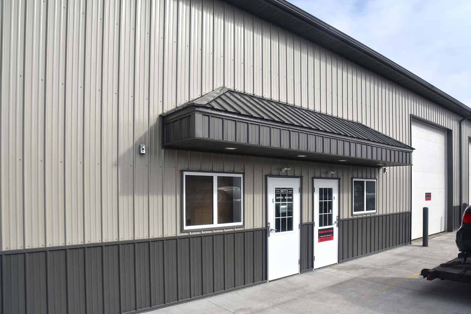 close up view of the exterior awnings over doors and windows at Little Chute Storage facility in Little Chute, WI
